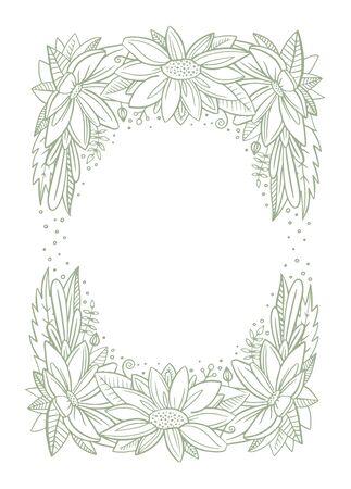 Flower green frame. Vector floral line
