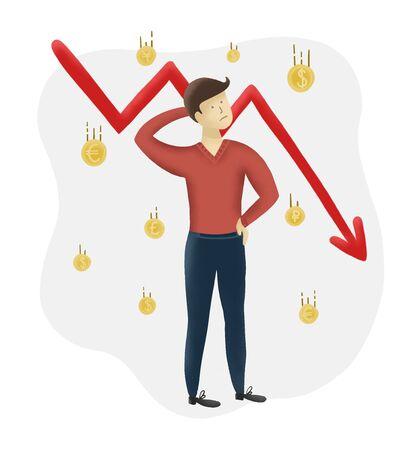 Stock market crash. Stocks fall and man lost money. Economic downturn