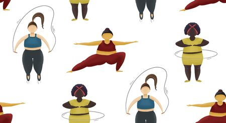 Fitness seemless pattern. Health sport training for fatty women. Girls with obese body.