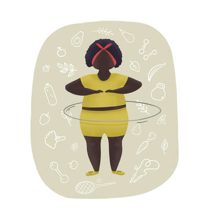 Motivation gray and yellow illustration. Fatty black woman and vegetables. Overweight sport.