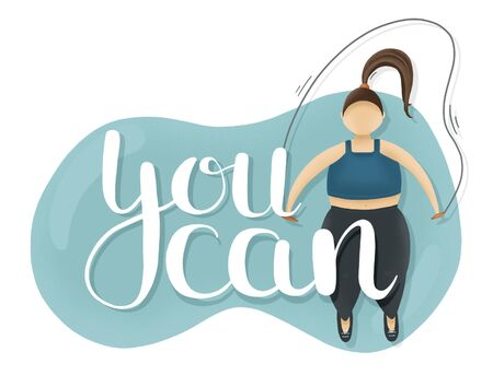 You can motivation blue illustration. Fatty woman with jump rope. Overweight sport Imagens