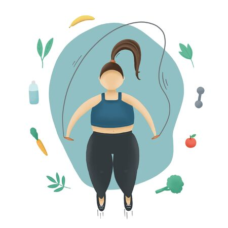 Motivation blue illustration. Fatty woman with jump rope and vegetables. Overweight sport