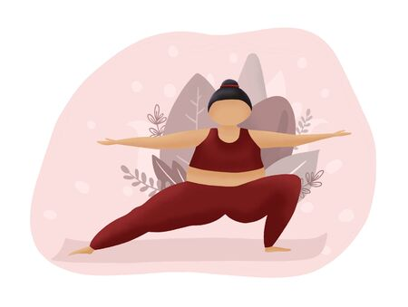 Motivation red and pink illustration. Fatty woman make yoga. Overweight sport