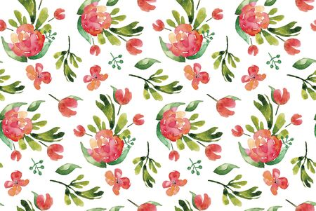 Watercolor red floral seamless pattern.