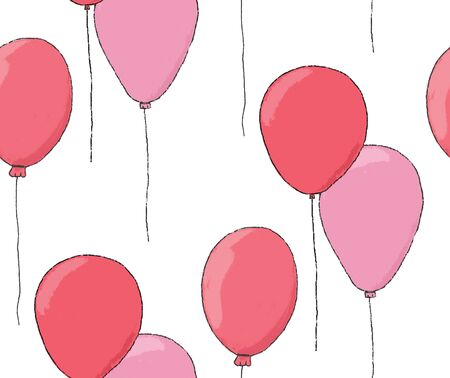 Red and pink balloons seamless pattern.