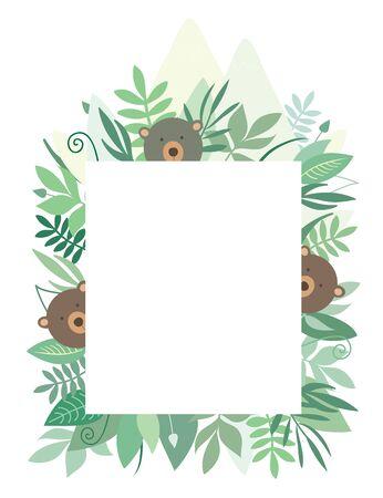 Cute vector baby bears frame, jungle theme. Summer frame with animals for kids or baby birthday invitation. Ilustração