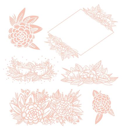 Set of pink line floral for wedding invintation. Vector blush leaves and flowers. Botanical elements for your compositions