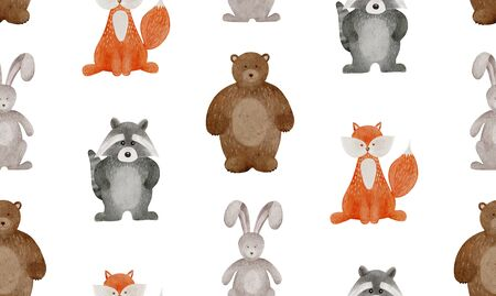 Cartoon pattern with watercolor woodland animals. Cute bunny, teddy, fox and raccoon for kids or baby.