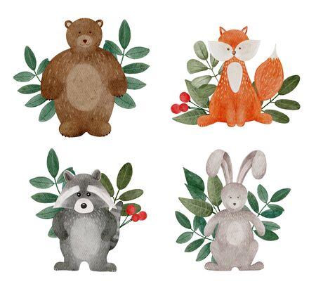 Watercolor cartoon woodland animals. Cute set of bunny, teddy, fox and raccoon with leaf.