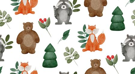 Watercolor woodland animals pattern for baby or kids. Cute forest bunny, teddy, fox and raccoon with leaf and pine tree. Imagens