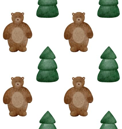 Watercolor cute teddy bear with green christmas tree. Woodland pattern for kids or baby.