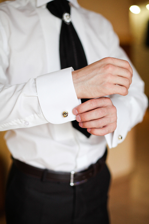 young  cuffs: Groom in white shirt and black trousers 1
