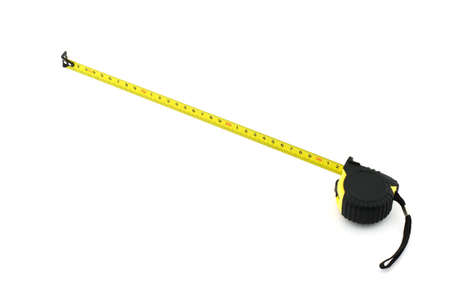 Photo of isolated yellow measuring tape