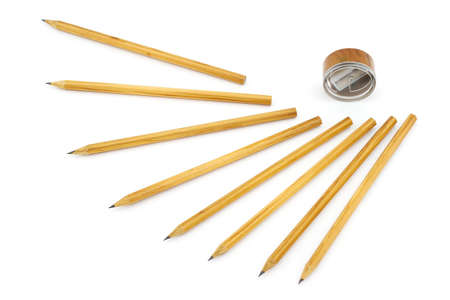 sharpened: Isolated photo of pencils and sharpener