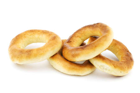 Isolated photo of several fresh russian bagels