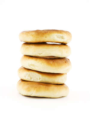 Isolated photo of tower of some bagels