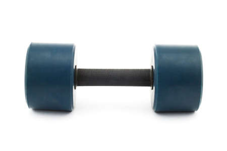 Isolated photo of a heavy blue dumbbell