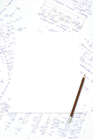 Sheet of clear paper and pencil on background of formulas and graphics Stock Photo