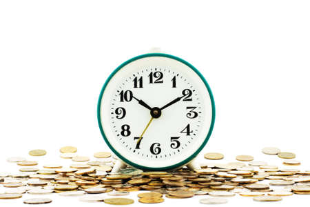 Isolated photo of clock on background of money as illustration of aphorism