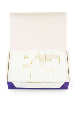 Isolated photo of box of lump sugar