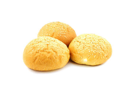 Isolated photo of three buns with sesame Stock Photo