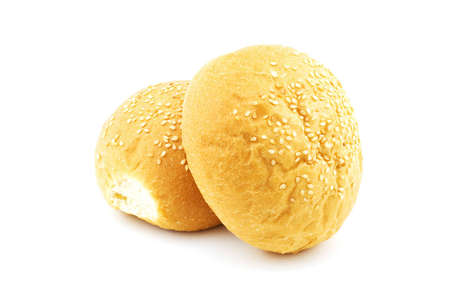 Isolated photo of two buns with sesame