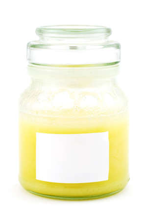 Isolated photo of a honey-jar with cover and blank