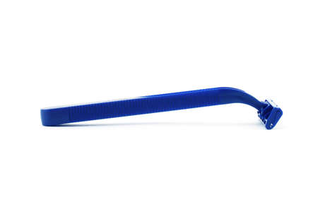 Isolated photo of a blue plastic razor