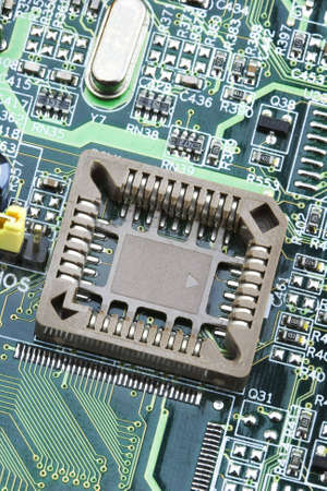 An photo of the front side of green computer mother board. Stock Photo