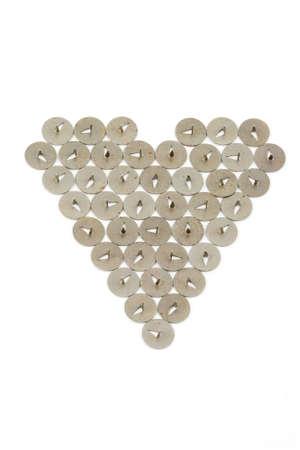 heart fabricated of pushpins