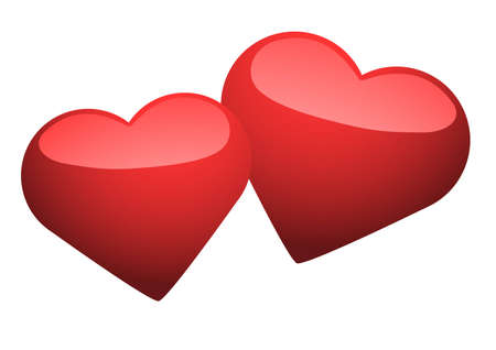 Vector image of two loving hearts