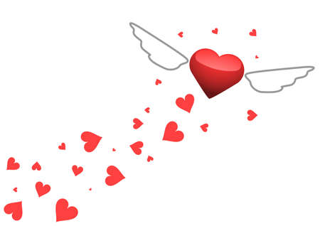Vector image of a flying heart with wings
