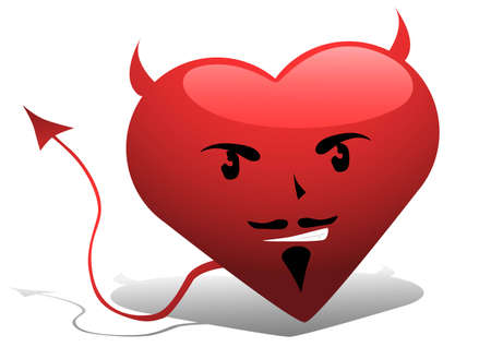 Vector image of devil-like heart Illustration