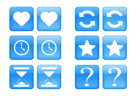 collection of images for blue buttons or icons Vector