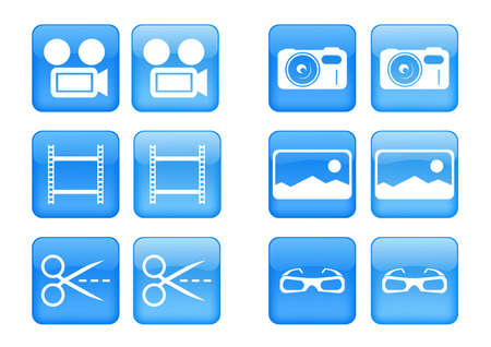 collection of images for blue buttons or icons
