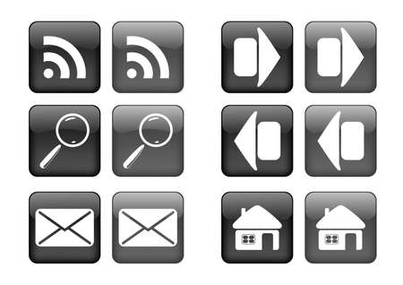 collection of images for black buttons or icons Vector