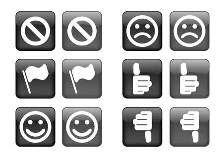 inhibit: collection of images for black buttons or icons Illustration