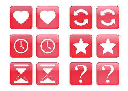 collection of images for red buttons or icons Vector
