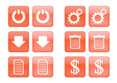 Victor collection of images for orange buttons or icons, including selected and nonselected (by mouse for example) versions Vector