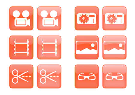 Victor collection of images for orange buttons or icons, including selected and nonselected (by mouse for example) versions
