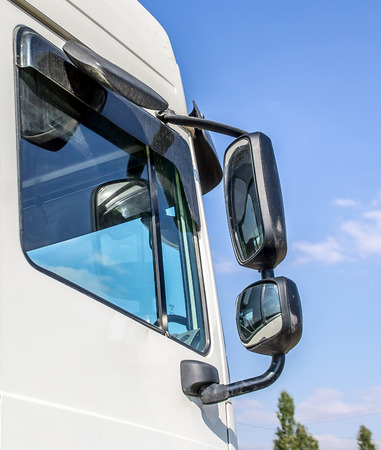 The rear view mirror of a lorry