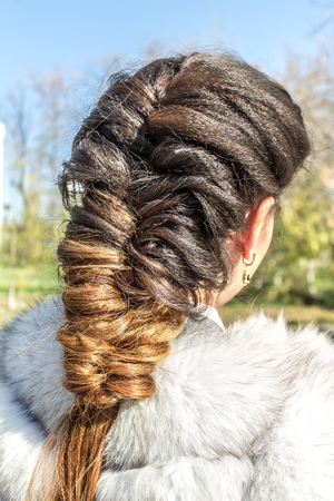 Girl with braided hair Stock Photo