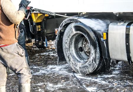 camion à laver dans l & # 39 ; air libre Banque d'images