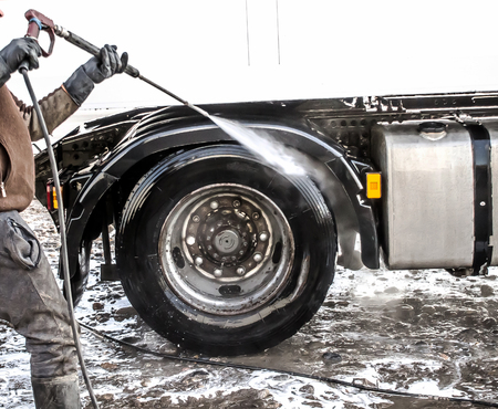 Truck washing in the open air