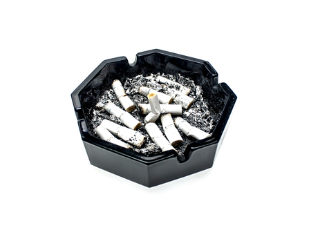Ashtray on a white background with cigarette butts