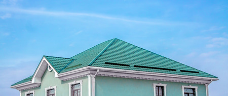 Roof of the house from the metal profile Zdjęcie Seryjne - 97179013