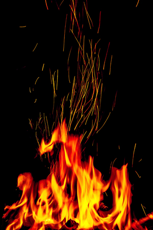 Fire with sparks on a black background