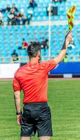 Shymkent, Kazakhstan, March 17, 2018; Football match at the stadium.Champion of the Republic of Kazakhstan between the teams