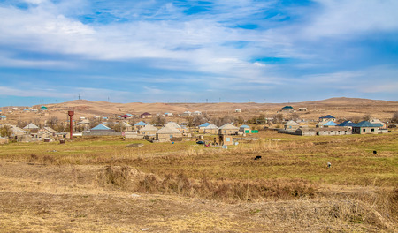 Village on the hills in Kazakhstan 스톡 콘텐츠