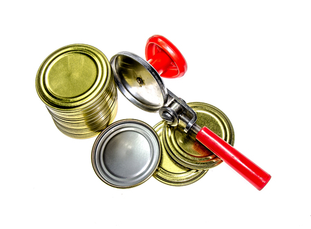 Tin can opener with tin cans